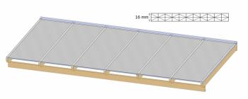 Terrasoverkapping zelfbouw met wit klikprofiel
