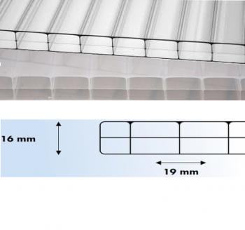 Polycarbonaat kanaalplaat 16 mm Novoclear 125x100 cm BxL