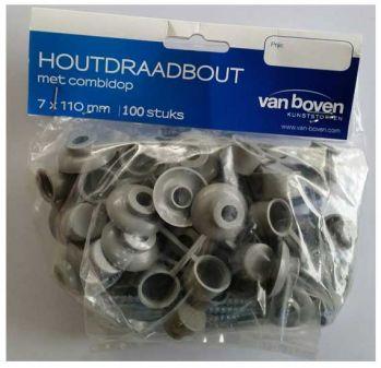 100 st schroeven 7 x 110 mm incl. ring en afsluitdop kleur grijs