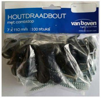 100 schroeven voor golfplaten te bevestigen 7 cm lang kleur zwart